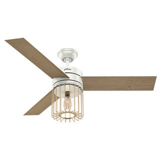 "Hunter 52"" Ronan Ceiling Fan with LED Light Kit and Handheld Remote - Fresh White and Modern Brass"
