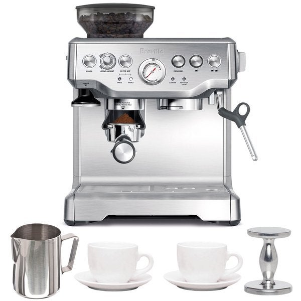 Breville BES870XL Barista Express Espresso Machine with Espresso Tamper, Frothing Pitcher & Two Tiara Cup and Saucers 24250478