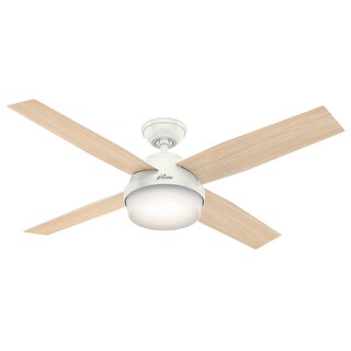 """Hunter 52"""" Dempsey Outdoor Ceiling Fan with LED Light Kit and Handheld Remote, Damp Rated - Fresh White"""