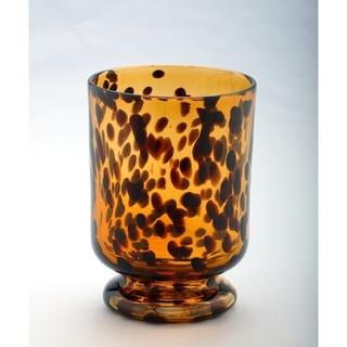 Leopard Glass Hurricane Vase