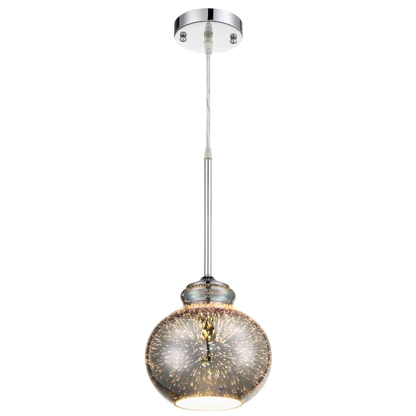 Rogue Decor Spacey 7.5-inch Glass Polished Chrome Mini Pendant with 3D Iridescent Optic Space Glass 24255857