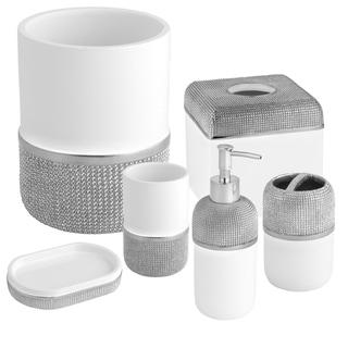 Ceramic Bath Accessory Collection Set or Separates - Silver/White