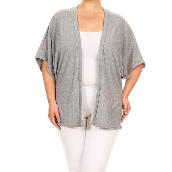 Women's Rib Knit Plus-size Solid Cardigan 24259975