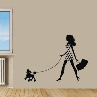 Dog Vinyl Sticker Girl Walking With Poodle Pet Shop Decor Kids Wall Home Decor Nursery Room Sticker 24274645