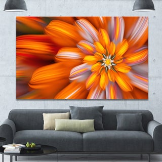 Designart 'Massive Orange Fractal Flower' Extra Large Floral Canvas Art Print