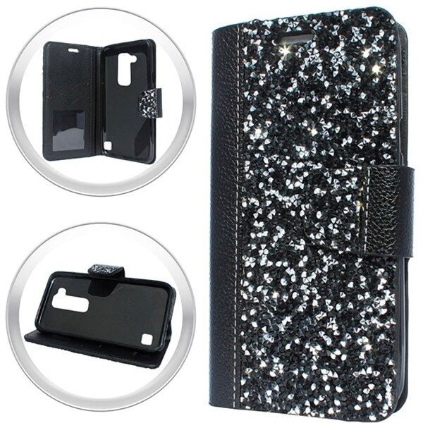 XL LG Stylo 2 LS775 Black Rock Smartphone Wallet 24284909
