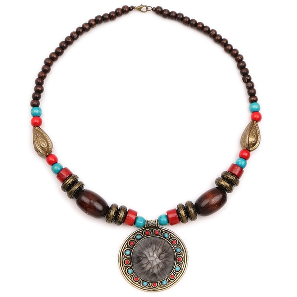 Liliana Bella Oxidised Gold Plated Multicolour Wooden Beaded Necklace with Glass Stone 24286733