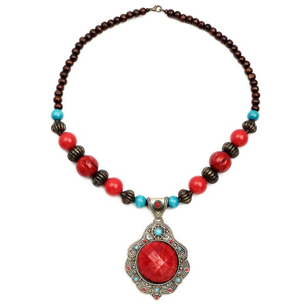 Liliana Bella Oxidized Goldplated Red Wooden Beaded with Glass Stone Necklace 24286967