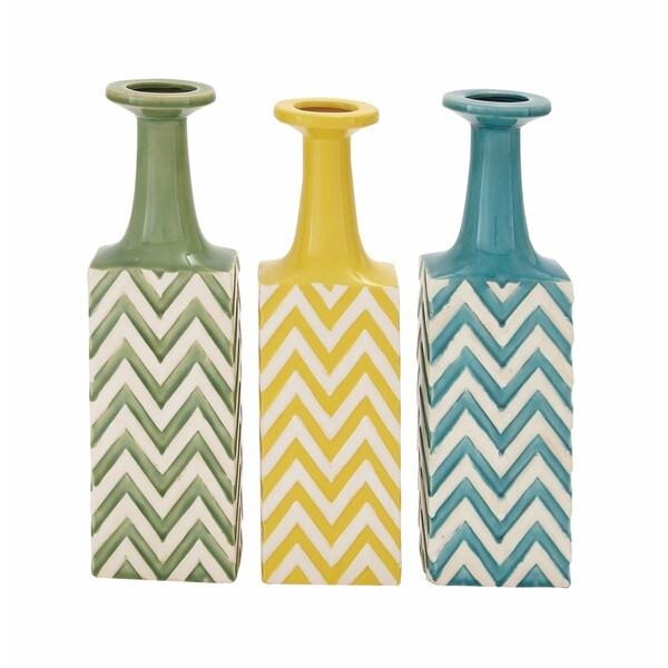 Oliver & James Buri Striped Ceramic Vase (Set of 3) 24293435