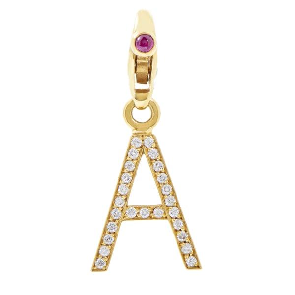"Pasquale Bruni Segni 18k Yellow Gold 1/4ct TDW White Diamond ""A"" Charm (G-H, SI1-SI2) 24293926"