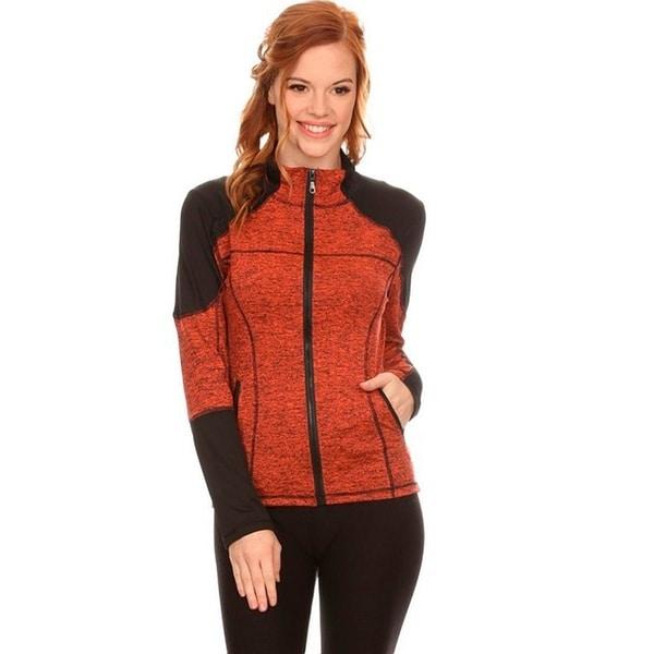 Women's Orange Fleece Zip-up Activewear Jacket 24297344