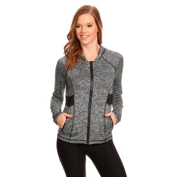 Women's Grey Active Wear Zip-up Hoodie Jacket 24297377