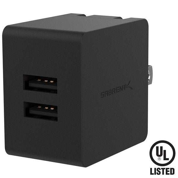 Sabrent AX-SMP2 Black 10.5-watt 2.1-amp Dual Smart USB Wall Charger With Foldable Plug 24297616