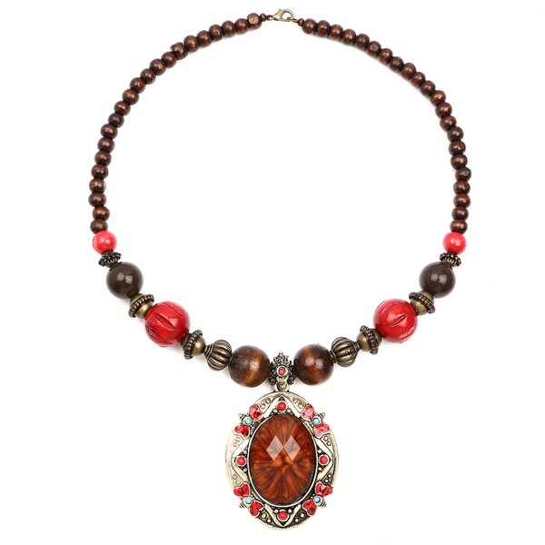 Liliana Bella Oxidised Goldplated Red Wooden Beaded Brown Glass Stone Necklace 24299412