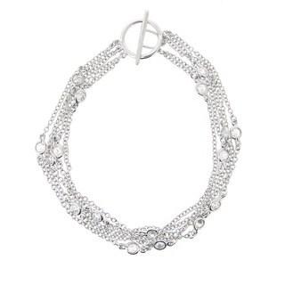 Icz Stonez Sterling Silver CZ Five-strand Toggle Bracelet