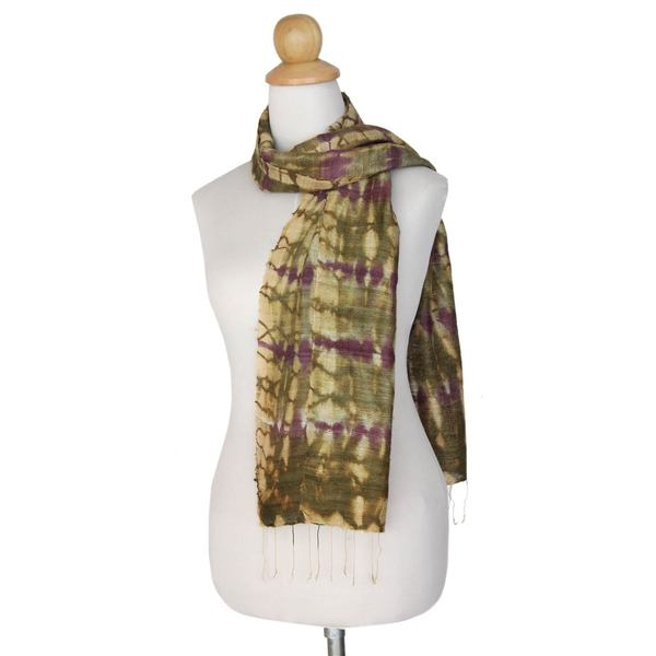 Handmade Silk Scarf, 'Purple Wilderness' (Thailand) 24308462