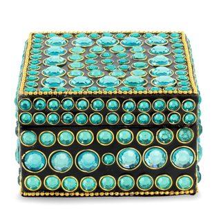 Handmade Bejeweled Box, 'Aqua Glitz' (India)