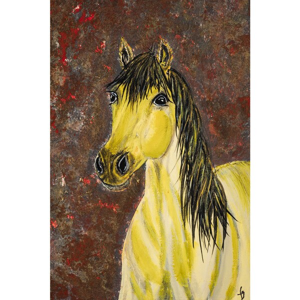 'Blondie Missouri Fox Trotter Horse' Painting Print on Wrapped Canvas - Yellow 24313817