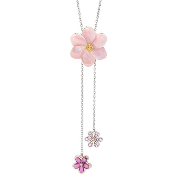 Michael Valitutti Palladium Silver Mother-of-Pearl Flower & Multi Gem Adjustable Bolo Necklace 24314293