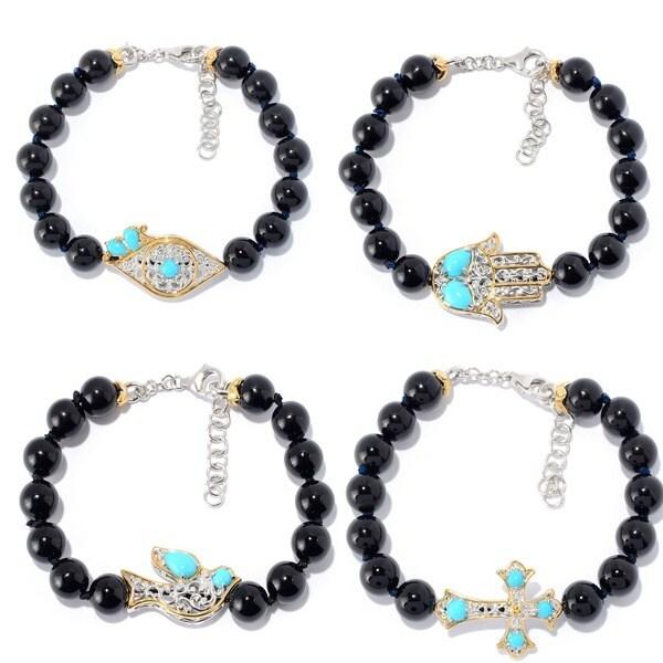 Michael Valitutti Palladium Silver Beaded Black Onyx & Sleeping Beauty Turquoise Icon Bracelet 24514644
