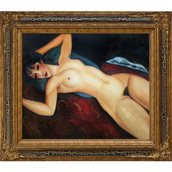 Amedeo Modigliani 'Reclining Nude' Hand Painted Framed Oil Reproduction on Canvas 24331745
