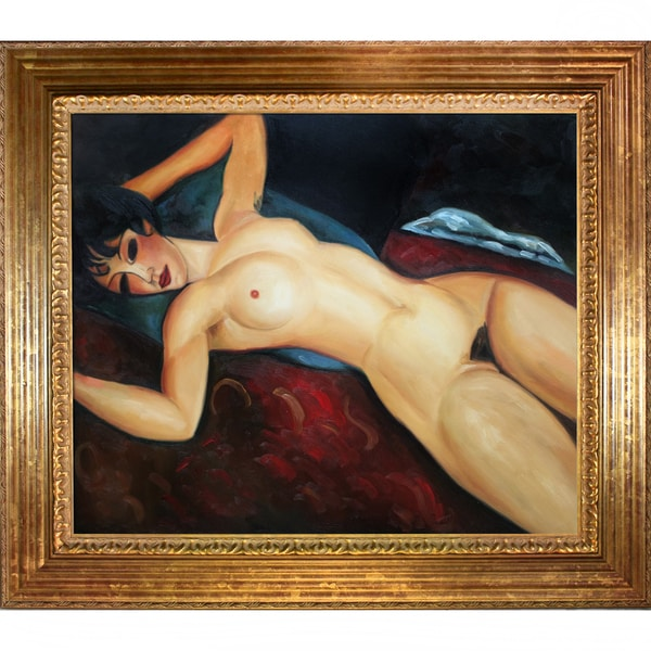 Amedeo Modigliani 'Reclining Nude' Hand Painted Framed Oil Reproduction on Canvas 24331747