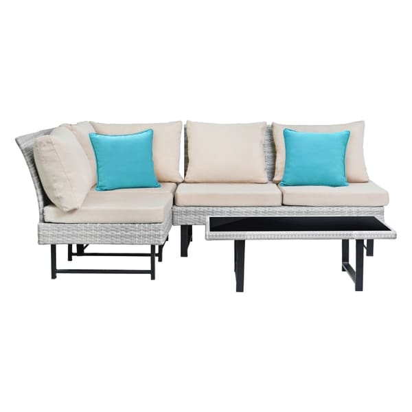 Safavieh Aleron Rattan Beige/ Teal Outdoor Sectional And Coffee Table 24331792