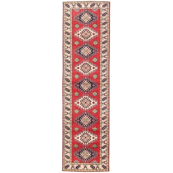 Herat Oriental Afghan Hand-knotted Vegetable Dye Tribal Kazak Wool Runner (2'7 x 9'6) 24345554