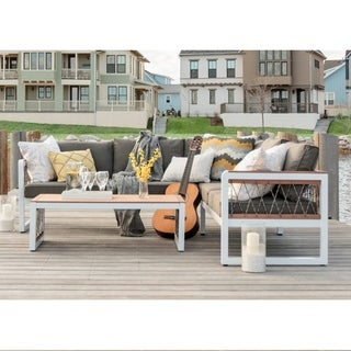 3-piece Outdoor Mixed Material Sectional and Coffee Table Set