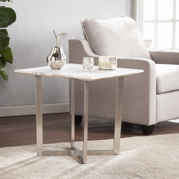 Harper Blvd Walham Faux Marble End Table - Soft Ivory w/ Gray 24351614
