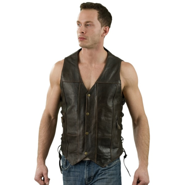 Men's Retro Brown Leather 10-pocket Side Lace Vest 24352427