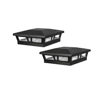 Classy Caps 6x6 Black Aluminum Cambridge Solar Post Cap (Set of 2)