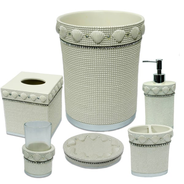 Shells & Diamonds 6 Piece Bath Accessory Set or Separates - Beige 24369748