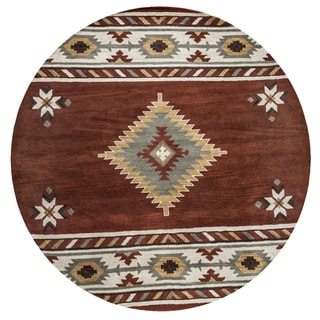 Ryder Hand-tufted Rust Wool Round Area Rug (8' Round) - 8' x 8'