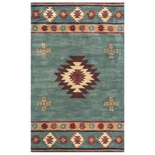 Ryder Hand-tufted Grey/Blue Wool Ryder/Tribal Round Area Rug (8' x 8' Round) - 8' x 8'