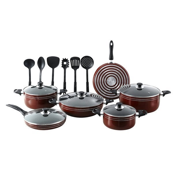 Q-Max 17-Piece Non-stick Pots and Pans Kitchen Cookware with Cooking Utensils
