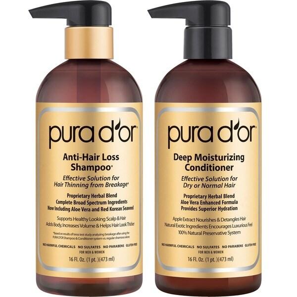 Pura d'or Gold Label Anti-Hair Loss 16-ounce Shampoo & Deep Moisturizing Conditioner Set 24394047