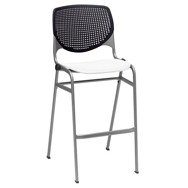 KFI KOOL Stacking Barstool, Black Back, White Seat 24398546