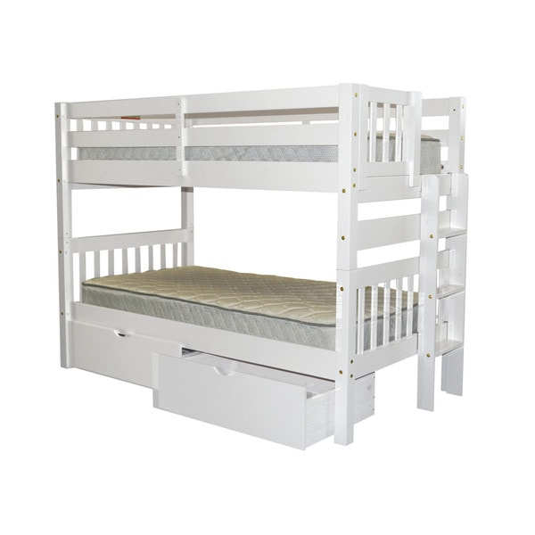 Bedz King Bunk Bed Twin over Twin with End Ladder and 2 Under Bed Drawers, White 24399354