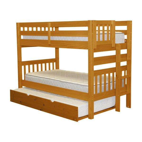 Bedz King Bunk Bed Twin over Twin with End Ladder and a Twin Trundle, Honey 24399356
