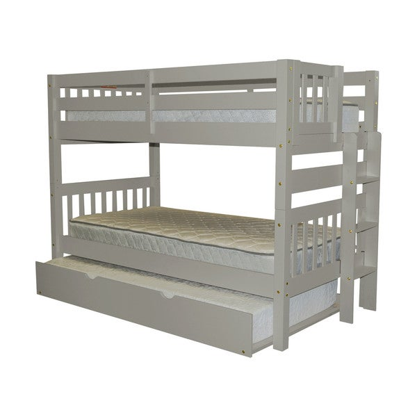 Bedz King Bunk Bed Twin over Twin with End Ladder and a Twin Trundle, Grey 24399361