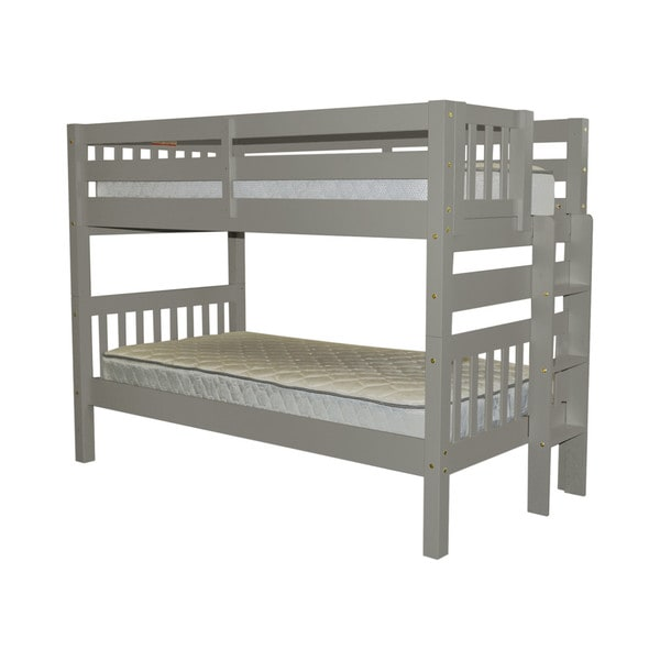 Bedz King Bunk Bed Twin over Twin with End Ladder, Grey 24399363