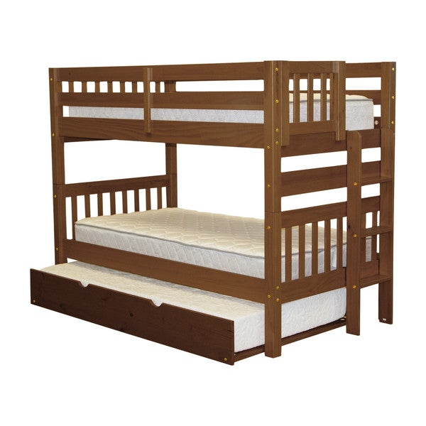 Bedz King Bunk Bed Twin over Twin with End Ladder and a Twin Trundle, Espresso 24399365