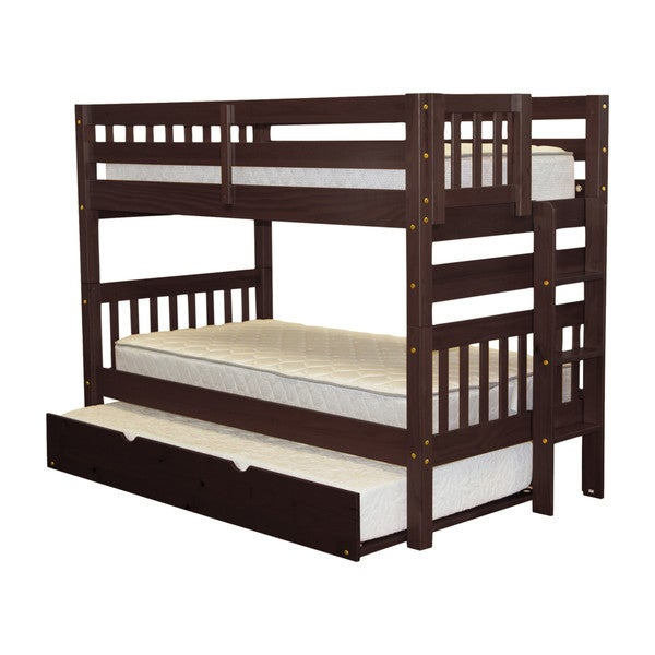 Bedz King Bunk Bed Twin over Twin with End Ladder and a Twin Trundle, Cappuccino 24399369