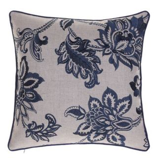 Multicolored Linen Embroidered French Country Throw Pillow 24401110