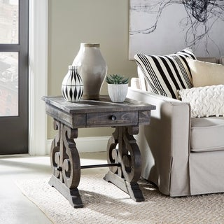 Bellamy Traditional Weathered Peppercorn Storage End Table