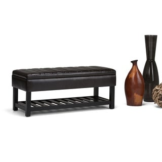 "WYNDENHALL Ashton 43 inch Wide Contemporary Rectangle Ottoman Bench - 43.3""x 16.9""x 18.5"""