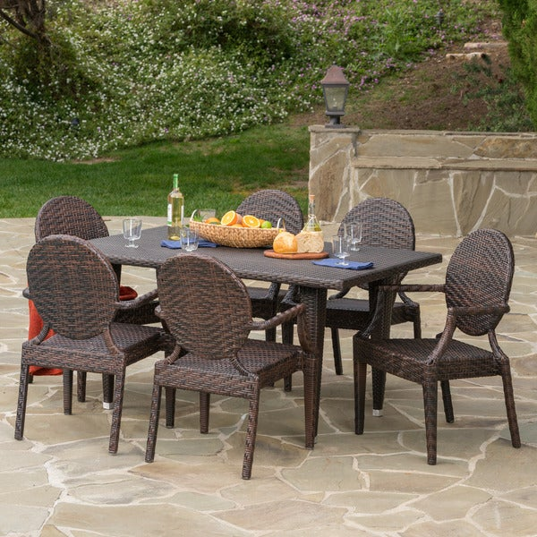 Hayward Outdoor Rectangle Wicker 7-piece Dining Set by Christopher Knight Home -  300354