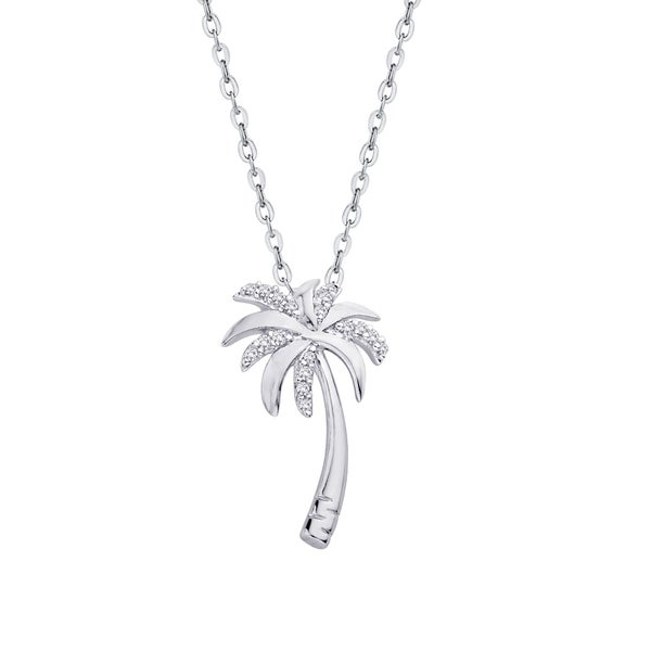 Sterling Silver 1/10ct TDW Palm Tree Diamond Pendant (J-K,I1-I2) 24443786