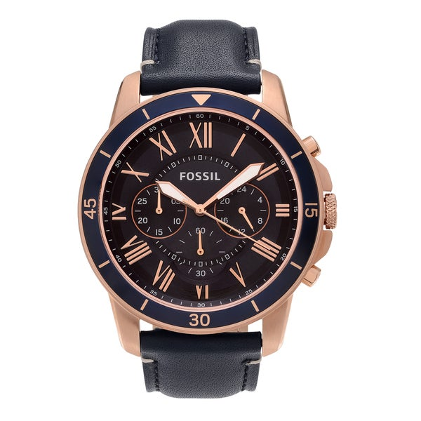Fossil Men's FS5237 'Grant' Rose Goldtone Stainless Steel Blue Chronograph Dial Leather Strap Watch 24444408